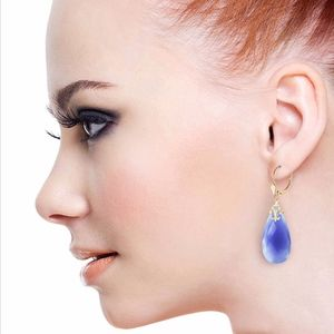 14K. GOLD LEVER BACK EARRINGS WITH BLUE CHALCEDONY